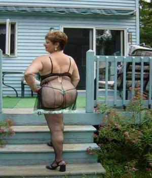 Big MILF Outdoor Lingerie Posing