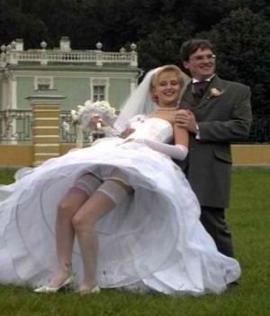 Blonde Bride Upskirt Wedding Photo