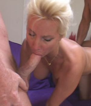 Blonde busty MILF fantasy sex with two guys