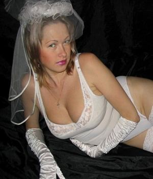 Busty Blonde Bride Hot Posing After The Wedding