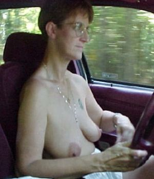 Granny Is Topless While Driving