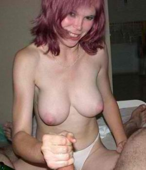 Horny Busty MILF Giving A Handjob