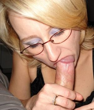Nerdy Blonde  Mom Sucking Some Cock
