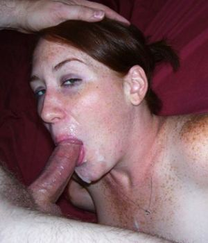 Redhead MILF  Sucking Cock  AndTakes A Cumshot On Her Mouth