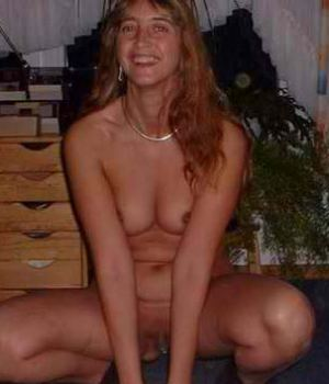 Sexy sleazy naked blonde wife posing nude