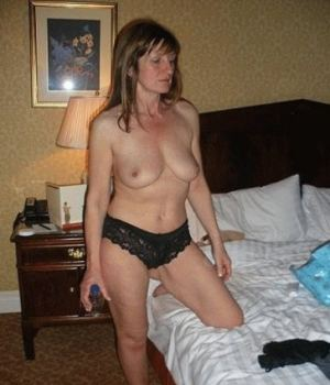 Sweet Mom Topless and Only In Her Black Lingerie
