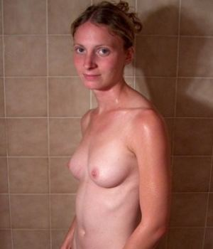Thin Cute Chick With A Hairy Bush Nude In The Shower