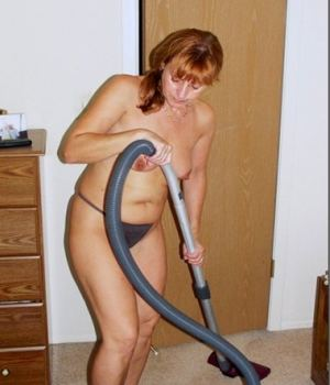 Topless Mom Cleaning The House